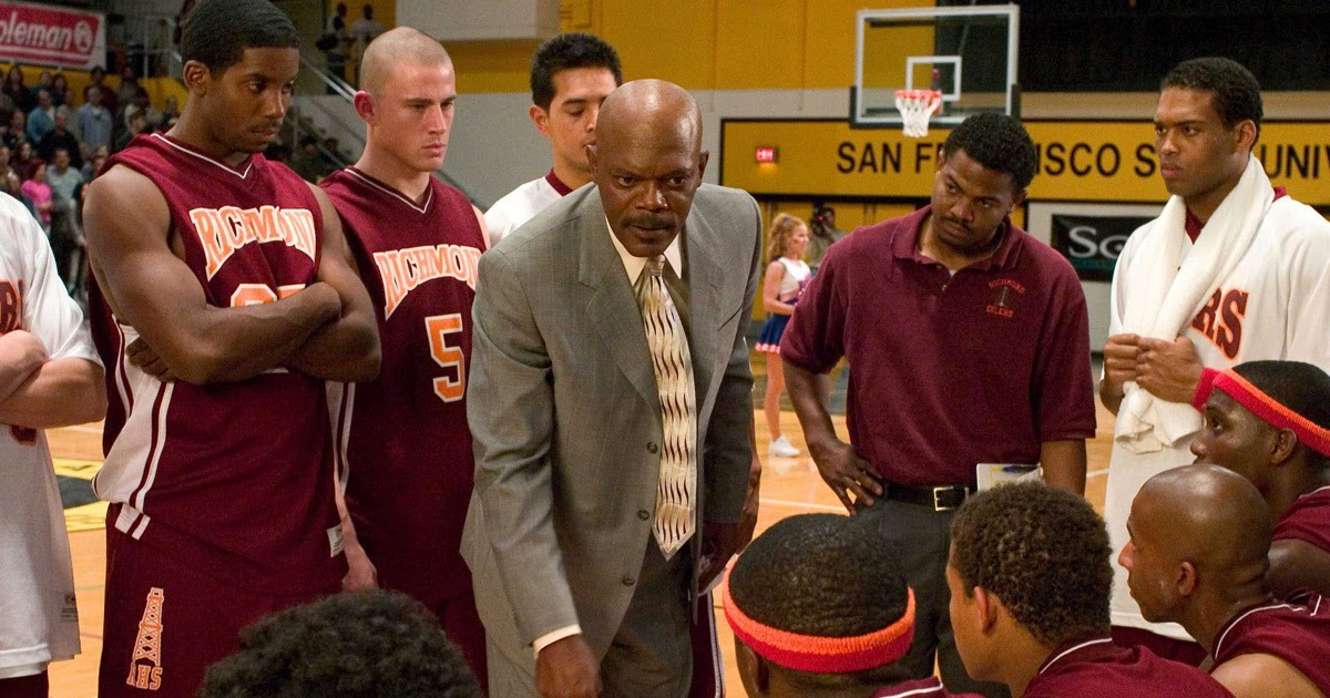 "Channing Tatum, Samuel L.Jaackson, Texas Battle, Rob Brown, Robert Richard, Antwon Tanner and Nana Gbewonyo in the film: ""Coach Carter"" directed by Thomas Carter. USA - 2005"