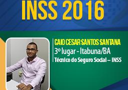 Aprofundar-se nos conteúdos e estudar com obstinação fizeram Caio conquistar o 3º lugar no cargo de técnico do INSS. Inspire-se !
