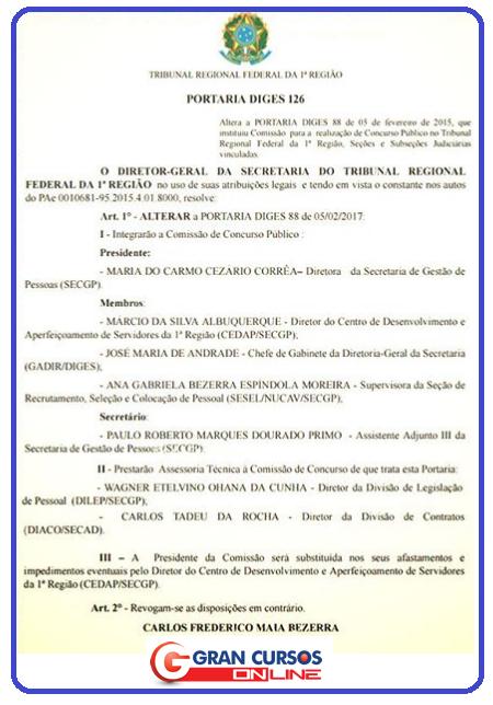 Comissão elaboradora do EDITAL TRF 1