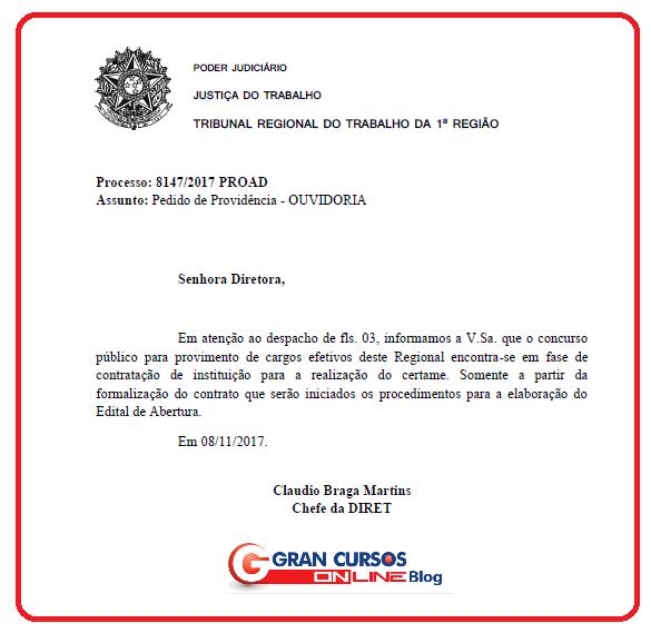 Concurso TRT RJ espera definição de banca.