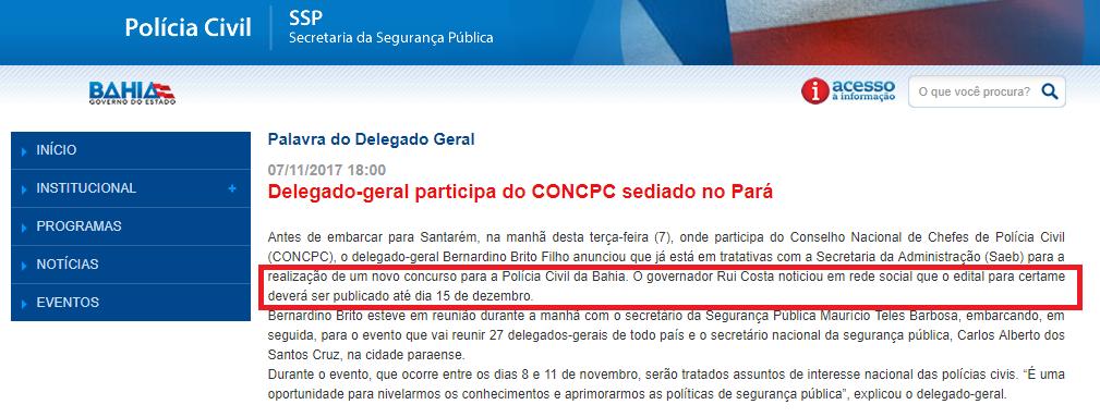 Concurso Polícia Civil Bahia(PC BA) é anunciado pelo governador!
