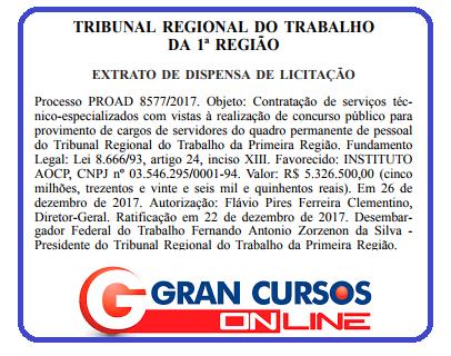 Dispensa de licitação de organizador para o concurso TRT RJ definido!