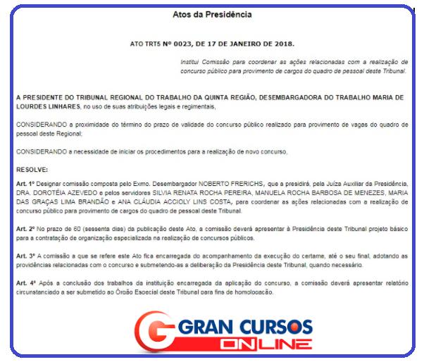Edital TRT BA: comissão interna definida e até R$ 14 mil!
