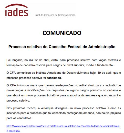 Concurso do CFA DF CANCELA novo concurso público. Veja os detalhes!