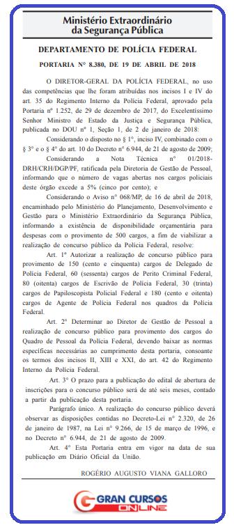Concurso Polícia Federal oferecerá oportunidades para nível superior e inicial de R$ 12 mil!