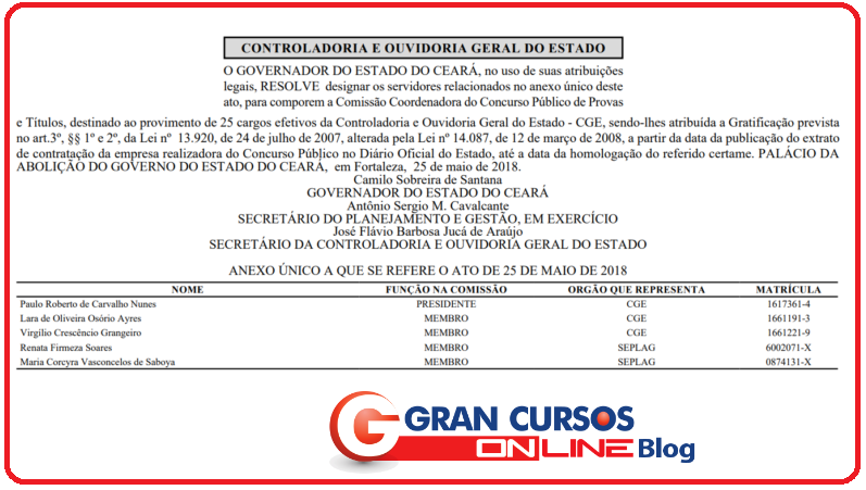Concurso CGE Ceará: comissão organizadora