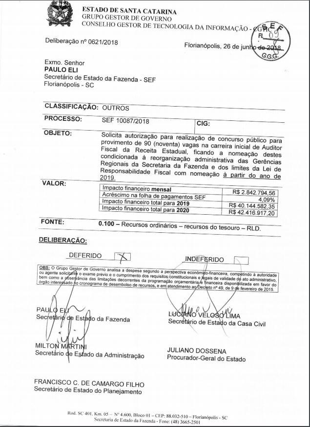 Autorização do concurso Sefaz SC.